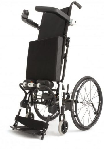 The Lifestand LSR is a manual wheelchair with efficient motorised stand-up and relax functionality