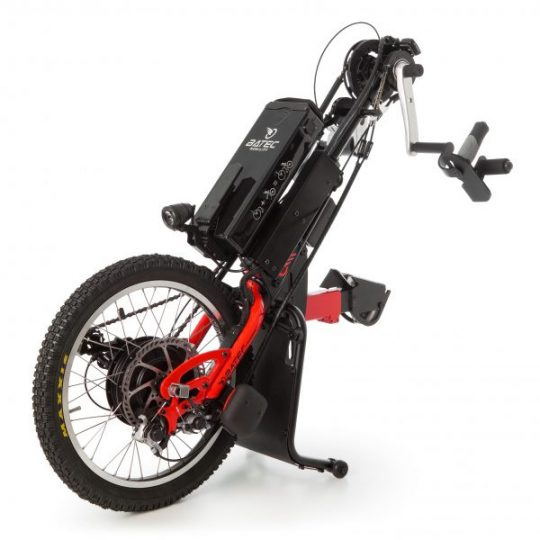 The Batec Hybrid is a handbike that attaches to a wheelchair to create a three-wheeled vehicle that allows users to move around propelled by their arms. A battery is attached to give you the option of a power assisted journey