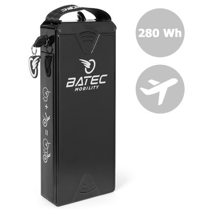 The Batec mobility 280 Wh battery for handbikes complies with IATA regulations for air transport. With the certification to fly, you can take it in the aircraft cabin