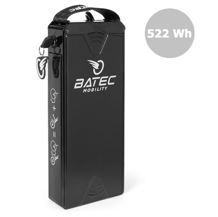 The Batec mobility 522 Wh battery can be purchased for handbike use. Although the same physical size as the 280 Wh standard battery, the 522 Wh will give you more distance per charge