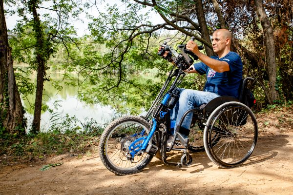 The Batec Manual is a manually powered wheelchair add-on handbike. Attach it to your chair and discover a new way to improve your fitness by combining exercise with some of your daily tasks