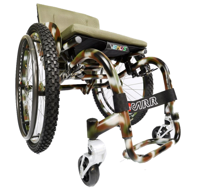 The fixed titanium frame provides favourable strength to mass ratio and new shock absorber adds to the wheelchairs overall performance