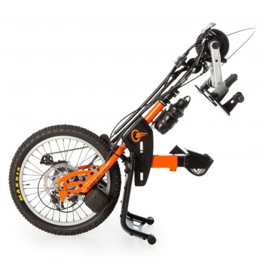 The Batec Hybrid handbike is Cyclone Mobility's add-on handbike with electric assist. Its flexibility aids physical exercise, without giving up your manual wheelchair.