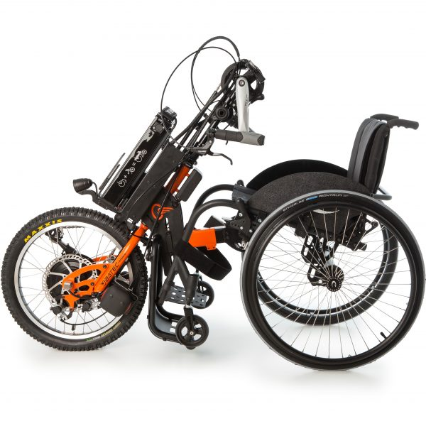 The Batec Hybrid add-on handbike, brings together the technology of the Batec Electric and the Batec Manual handbikes, to offer the equivalent of an electrically assisted bike