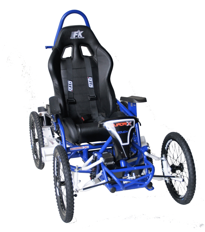 the Quadrix AXESS TOUCH invites you to get involved in multiple outdoor activities and explore new horizons. With this electric wheelchair model, speed and direction is controlled with just the joystick