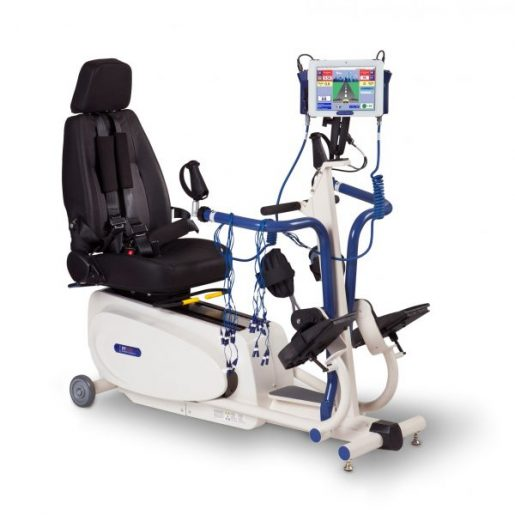 RT200 is a seated motorised FES elliptical, suitable for a wide range of patients. Its the only hybrid FES system that works arms and legs simultaneously. RT200 can be prescribed for home use to maintain continuity of care for patients who require long term therapy.