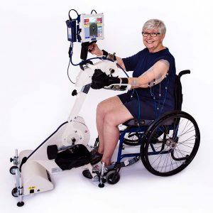 RT300 SLSA is a flexible leg and arm cycle system that can be used from a wheelchair, a chair, plinth or balance ball