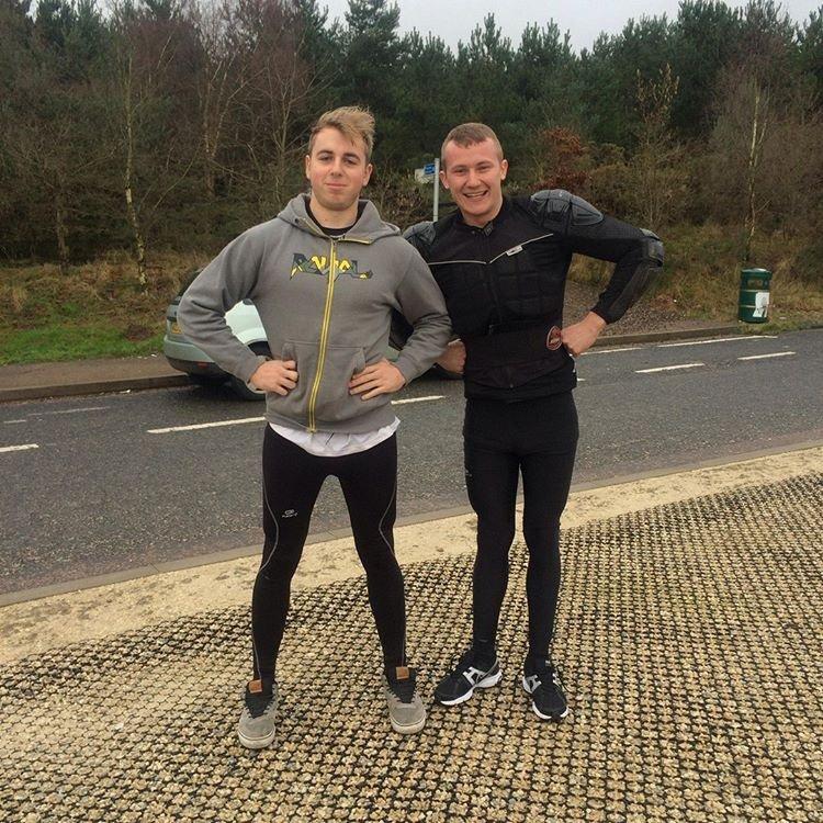 Alex toon and friend in their mountain biking gear
