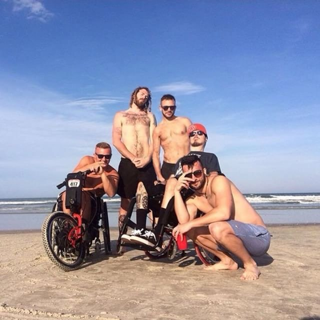 Alex toon and friends on the beach in Florida