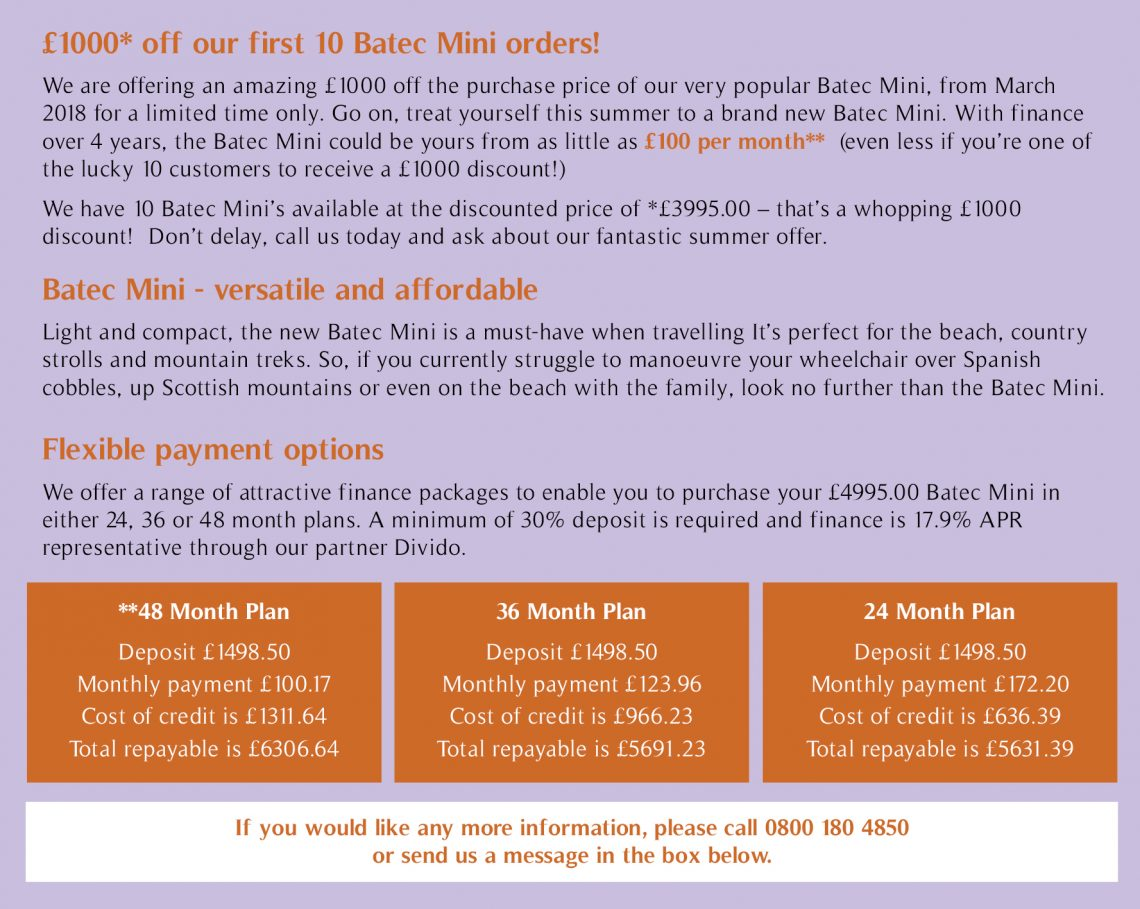 Finance options now available on Batec Mini