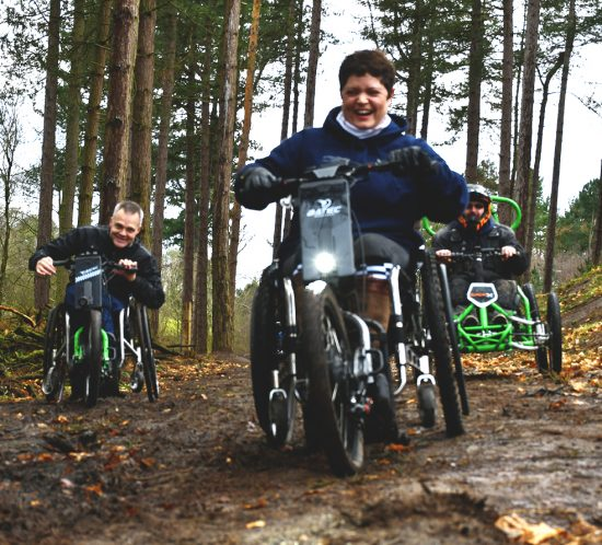 Jane and Cyclone ride Batec's and Quadrix around Delemere Forrest