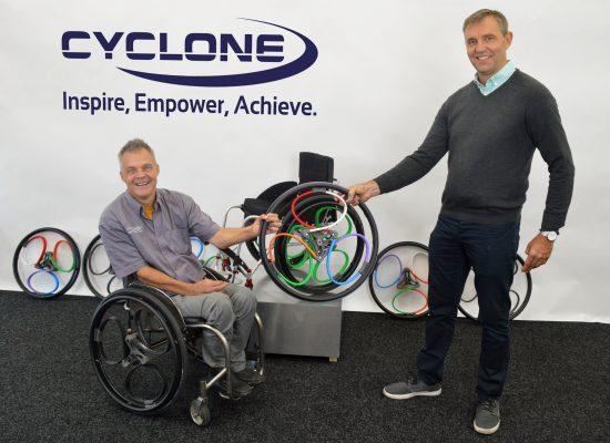 Stuart Dunne and Sam Pearce Loopwheel company owner demonstrating Loopwheel range
