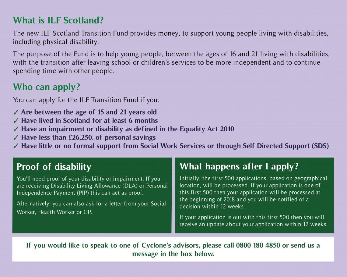 Information regarding ILF Scotland. All criteria to meet on application