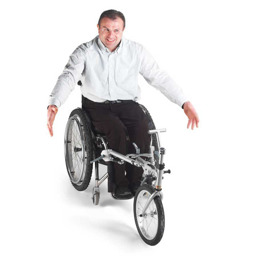 Turning your wheelchair into a three-wheeler