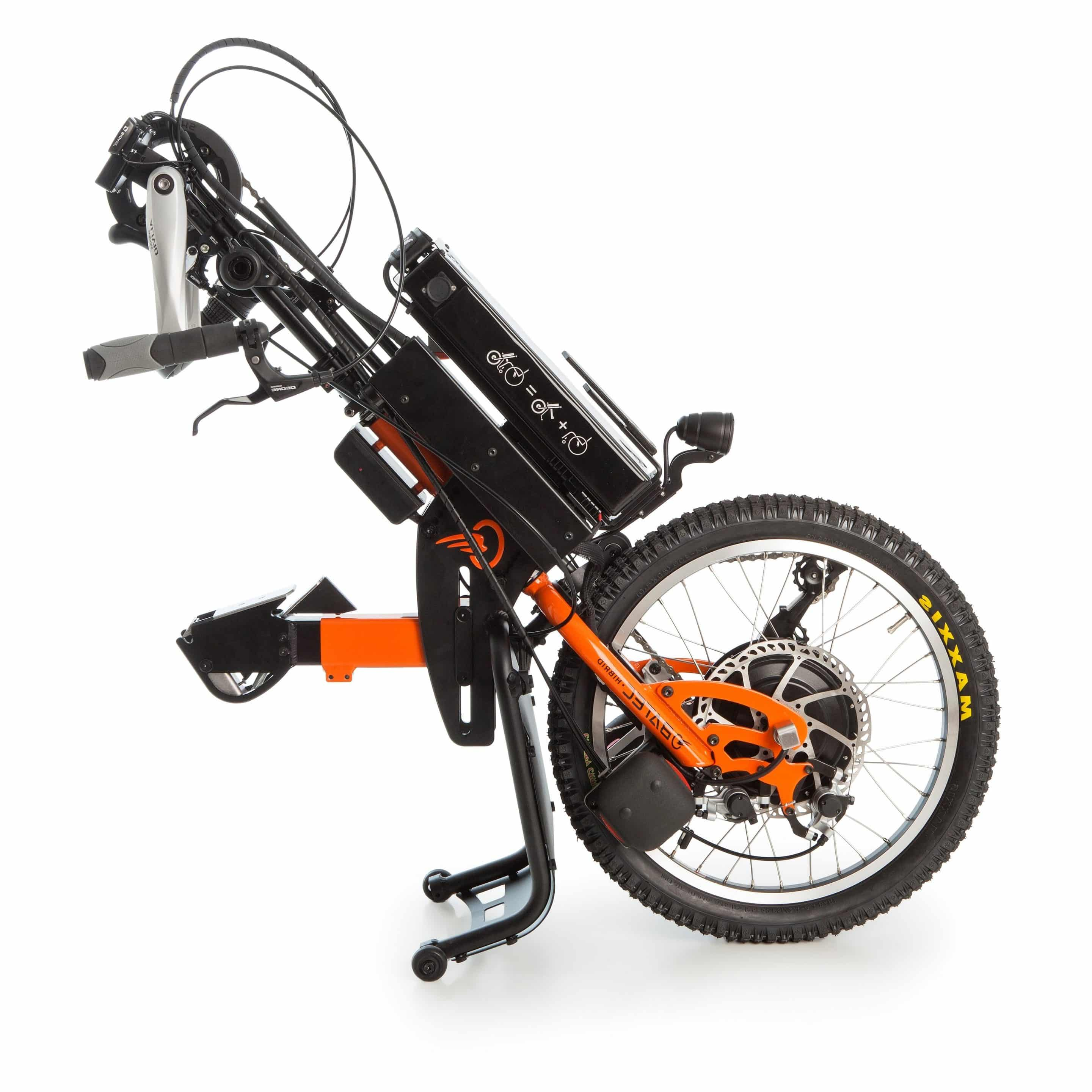 The Batec Hybrid add-on handbike, brings together the technology of the Batec Electric and the Batec Manual handbikes, to offer the equivalent of an electrically assisted bike.
